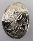 Silver salmon pendant, Norm Seaweed