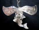 Sterling Silver Eagle with Salmon