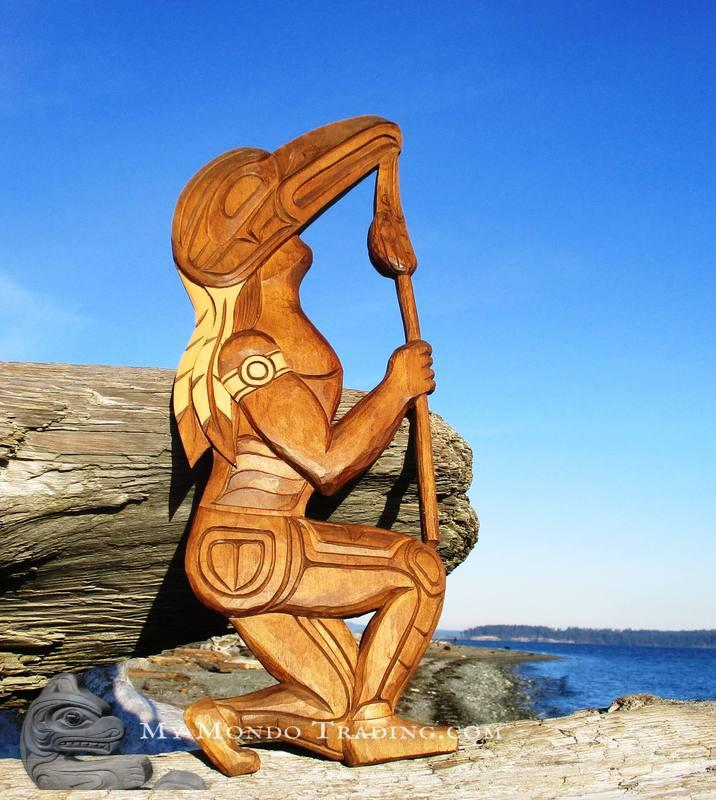 Beautiful Raven Dancer Art carving by Alan Natrall