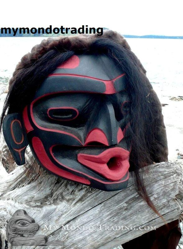DANCED huge Wild Woman Mask (Dzunukwa) by Hereditary Chief David Mungo Knox