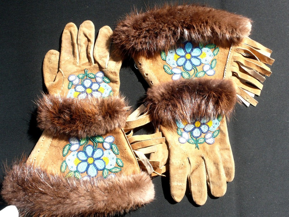 smoked moose hide Gauntlets, beaded, fringed