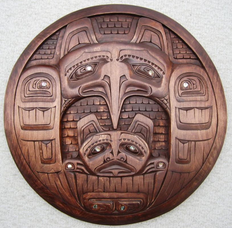 Round Wall Panel - Hawk with Bear Carving by Donavon Gates