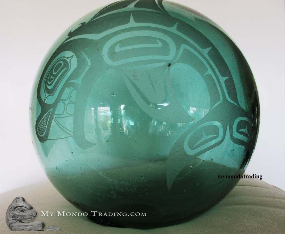 Haida Whale on large green Japanese Glass Float by Francis Pollard