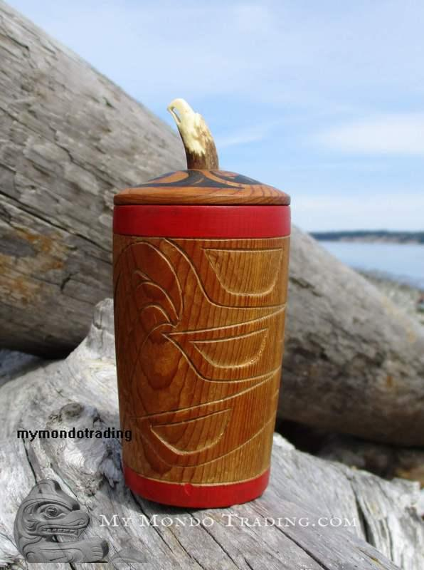 Lidded Eagle Cup with antler carving by Charles McKay