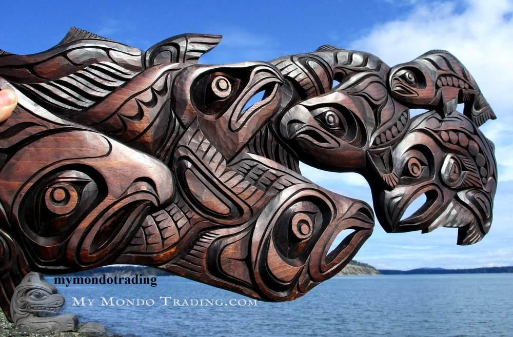 Salmon run, wall art carving, Jackson Robertson