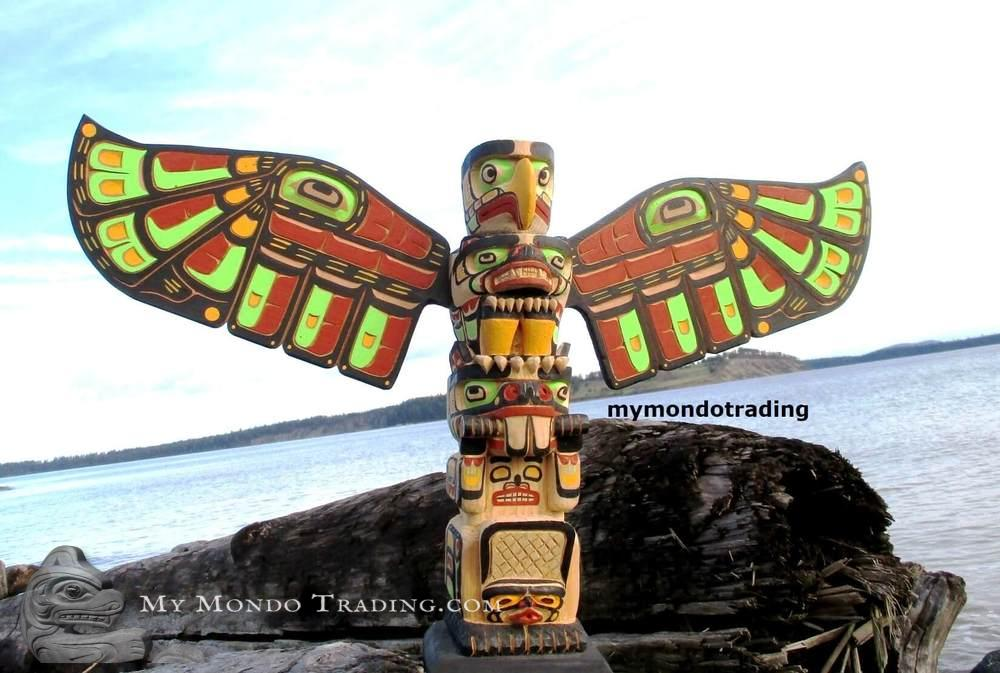 Eagle and Beaver Model Totem Pole, John Henry Hunt