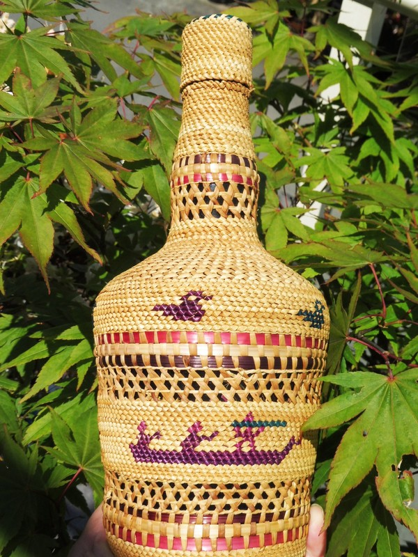 Early Nuu-chah-nulth Basket covered bottle