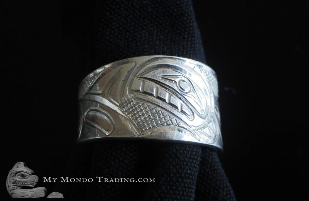 Sterling Silver Ring, whale family, by Norman Seaweed