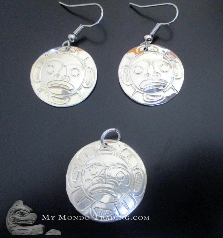 Sterling Silver SET: Moon earrings and matching pendant, Norman Seaweed