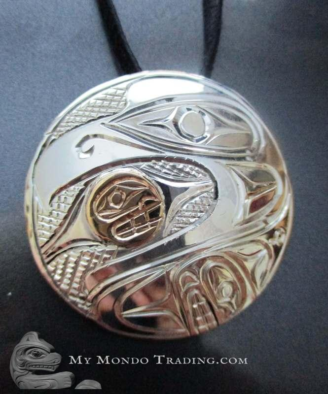 Gold on sterling silver Eagle and Whale pendant by Paddy Seaweed