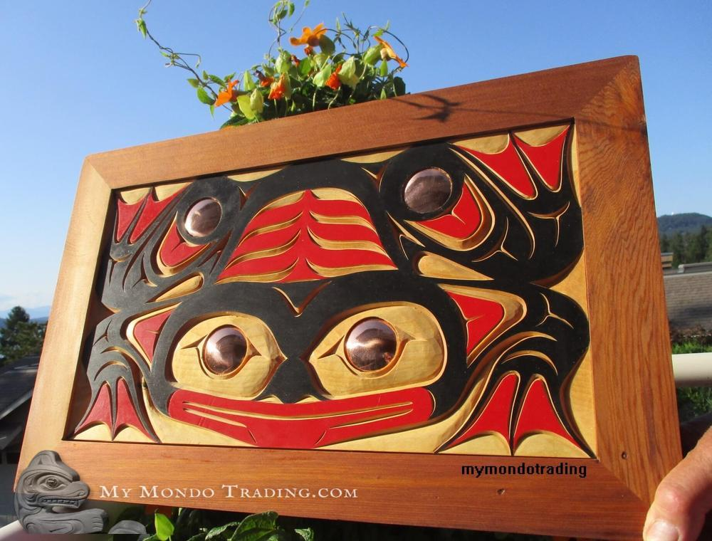 Frog wall art, inlaid, framed, by Robert Sanderson