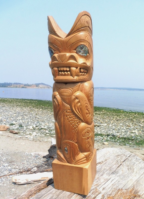 Bear with Salmon Totem Pole, Ron Sager, Wolf Clan