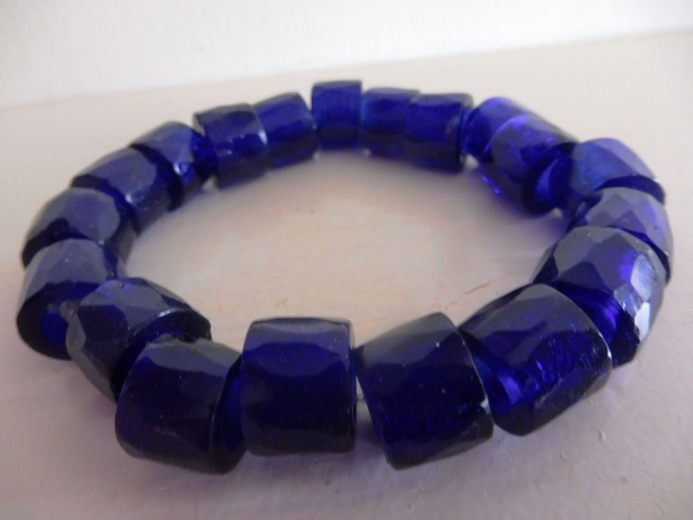 Russian Trade beads Bracelet, cobalt blue, thick