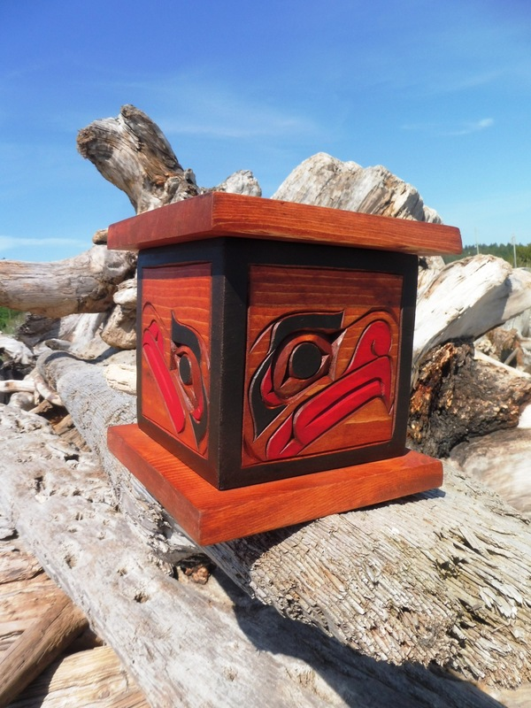 Lidded Box with Raven, Eagle, Thunderbird and Owl by Sarah Robertson