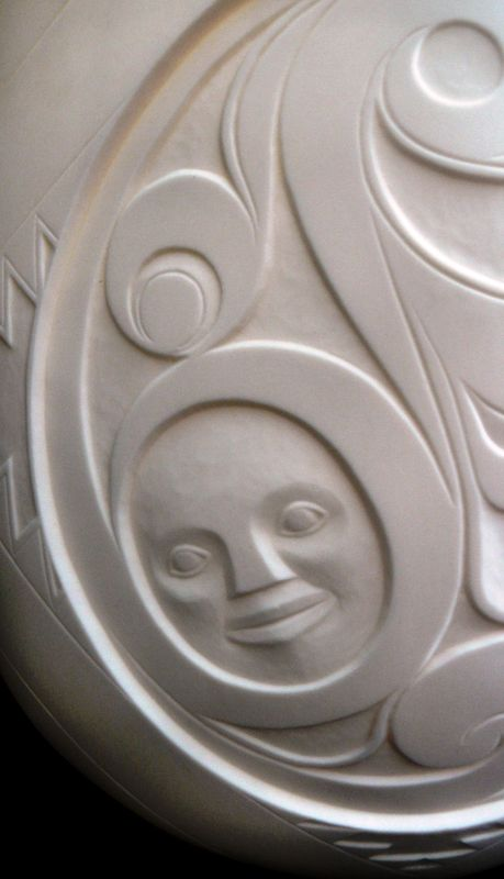 First Nations Art, White Porcelain Vase by Terry Jackson