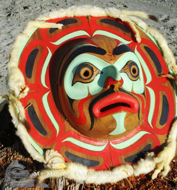 Cedar MOON Mask adorned with white ermines, by Wayne Alfred