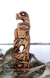 Eagle and Killer Whale with Eagle spirit wall art carving by Alfred Robertson