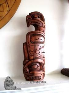 Eagle and Whale head art carving by Alfred Robertson