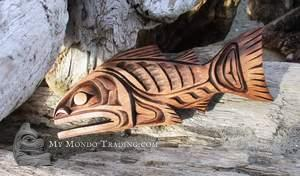 Salmon wall art carving by Alfred Robertson