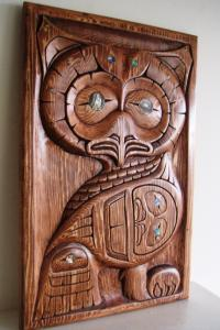 Mother Owl with Baby by Haida Artist Donavon Gates