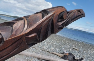 Double Raven Sculpture - from Alert Bay, Kwakiulth First Nation