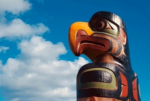 Totem Poles, contemporary and traditional