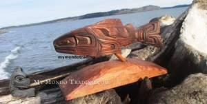 Salmon Sculpture on wooden base by Gino Seward