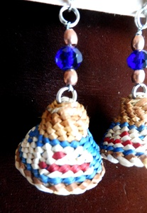 Whale Hat Earrings, cedar bark weaving, Julia Joseph