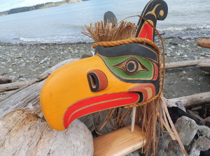 Kolus Mask on Stand with lots of cedar bark