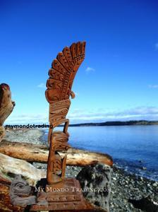 Eagle and killer whale totem pole by Nancy Williams