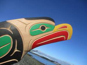Eagle wall art carving by Neil Baker, Squamish Nation