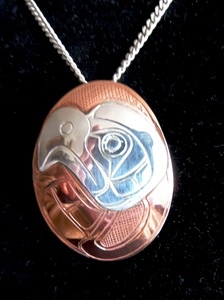Silver Eagle on copper pendant, by Norm Seaweed