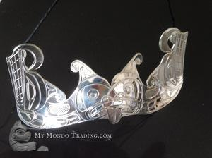 Sterling Silver Sisiutl pendant by Norm Seaweed