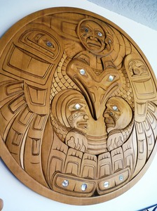 "Eagle Moon Eclipse, 36"" Masterpiece by Haida Artist Donavon Gates"