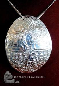 Large Sterling Silver OWL pendant, Paddy Seaweed