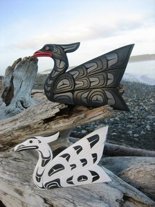 Pair of Swan's - black and white - fantastic Indigenous Art