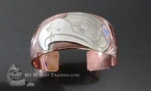 Silver on copper Eagle cuff Bracelet, Norman Seaweed
