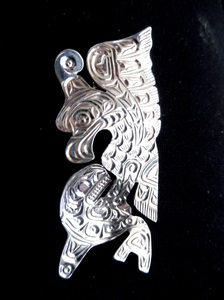 Sterling Silver Thunderbird with Whale pendant by Solomon Seward