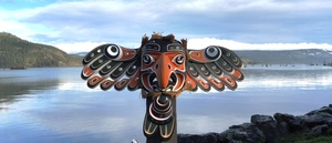 "46"" cedar EAGLE Mask by Master carver Tom D. Hunt"