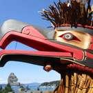 Eagle Mask, lots of cedar bark, by Alfred Robertson