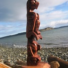 Model Totem Pole, Eagle and Whale by Alfred Robertson