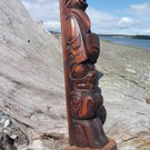Thunderbird over Bear Model Totem Pole by Darrell LeBlanc