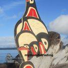 Mother Whale with Baby and Ravens, yellow cedar by Detreck George