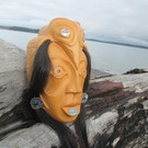Tlingit, RAVEN WOMAN Mask by Jimmy George Jr.