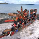 Kwakiulth 5 figure RAVEN Canoe by Jimmy Joseph