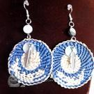 Cedar bark woven whale earrings, Joseph, Julia