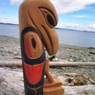 Raven Totem Pole Sculpture by Mike Charlie Jr.