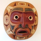 Vintage Cedar Moon Mask by Leighton Antoine