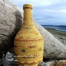 Nootka Basketry woven bottle, unusually large