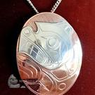 "Silver on copper BEAR pendant, 2 1/2"", Norman Seaweed"